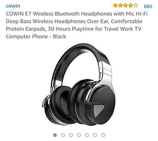 387•COWIN E7 Wireless Bluetooth Headphones with Mic Hi-Fi Deep Bass Wireless Headphones Over Ear, Comfortable Protein Earpads, 30 Hours Playtime for Travel Work TV Computer Phone - Black
