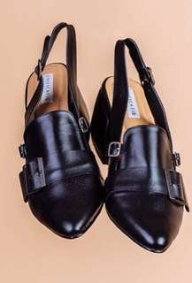 Black strap heeled Mules