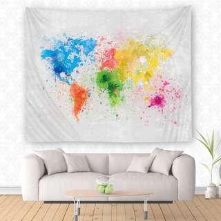 🚚 小預算佈置術潑墨世界地圖裝飾掛布壁畫直播背景Decorative Cloth Hanging Cloth Mural