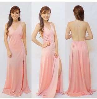 blush pink t string maxi dress