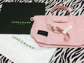 Long Champ Colle LE Pliage cuir pink soft