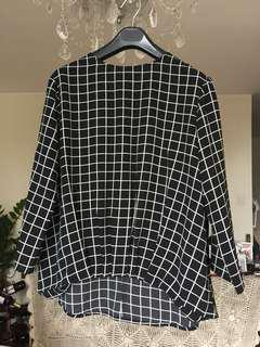 Japanese Black Checkers Blouse 日本黑色格子上衣