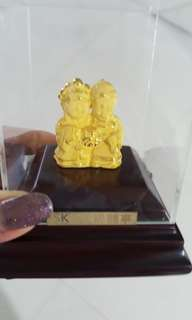 999 Pure Gold Wedding Couple Figurines