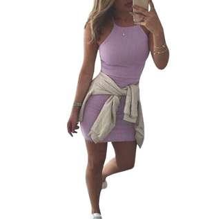 Sleeveless halter purple dress