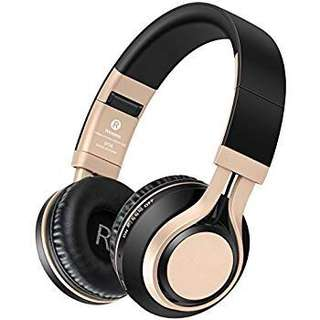 (131) Wireless Stereo Bluetooth Headphones Over-ear Built in Intelligent Noise Reduction, Picun P9 4 in 1 Upgrade Bluetooth Foldable Headsets with Mic Support SD/TF Card(Gold)
