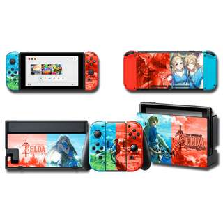 Nintendo Switch Decal Skin Zelda & Link, Red & Blue