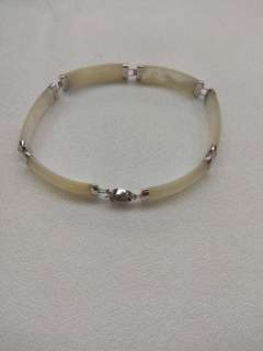 14K White Gold Mother Pearl Bracelet