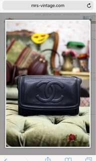 Vintage Chanel Navy Caviar Shoulder Bag