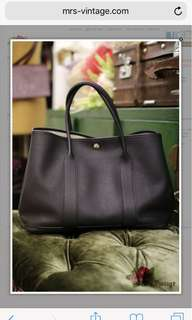 Hermes Black Garden Party 36 Leather