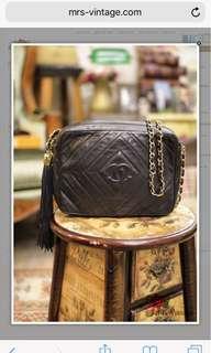 Vintage Chanel Black lambskin tassel bag