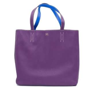 (PREOWNED) HERMES DOUBLE SENS TAURILLON CLEMENCE 45 TOTE BAG 二手 手袋 紫色 藍色