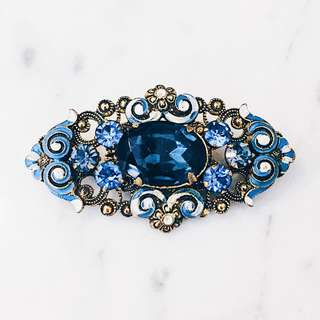 Antique Czech Blue Crystal Enamelled Brooch Pin