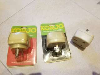 Adaptors, 2 for Japan and USA, 1 for China, Australia and New Zealand
