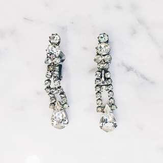 Vintage Clear Crystal Clip-on Earrings