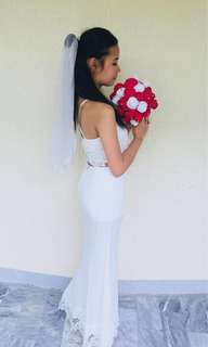 For RENT : White Long Gown Two-Piece Set