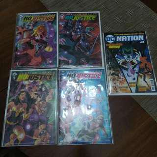NO JUSTICE ISSUES #1 TO 4 AND DC NATION #0