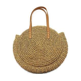 Round Straw Tote Bag 🌙