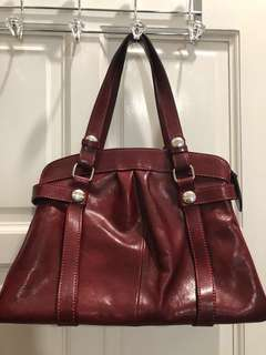 Gunuine leather red vintage bag - made in italy