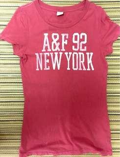 Abercrombie & Fitch (a&f)桃紅色短袖t-shirt