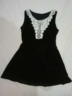 Black mini dress with white front lace