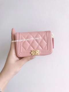 Chanel Boy Zipper Card Holder- pink