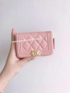 Chanel Boy Zipper Card Holder- pink