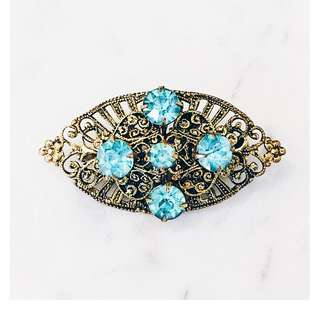 Vintage Czech Aqua Crystal Brass Filigree Brooch Pin