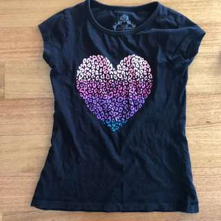 Girls Kmart ombré heart print t-shirt, size 8