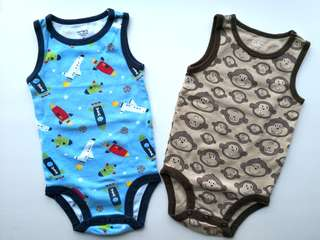 PRELOVED CARTER Blue Space & Brown Monkeys Sleeveless Baby Onesies - in very good condition