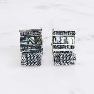 Vintage Chain Cufflinks with Shell & Rhinestone