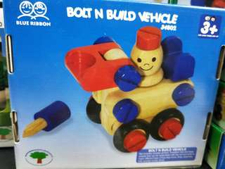 Brand new blue ribbon bolt and build vehicle wooden set