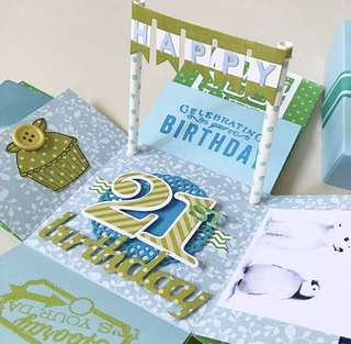 Happy 21st Birthday Explosion Box Card in green and blue