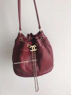 Chanel Pleated Crumpled Calfskin Drawstring Bag - red