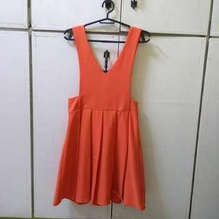 Orange Jumpskirt Dress