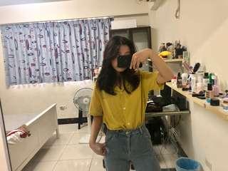 韓風黃色襯衫