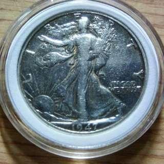 美國1947年行走女神半美元銀幣 XF+ 原光 保真 丹佛版 附內墊小圓盒