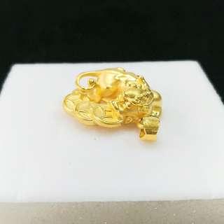 【TB】9999純金 3D硬金 貔貅咬錢墜飾