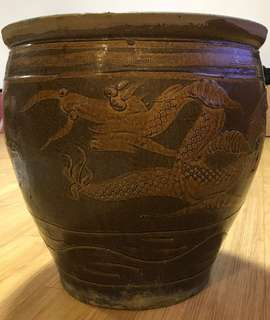 Rare antique Dragon Pot for sale. Ideal for soil.planting or water based plants.