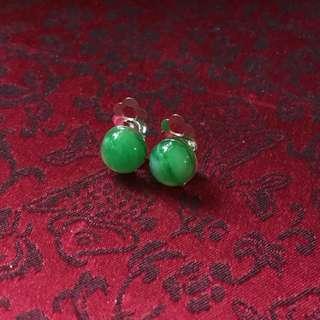 仿玉石夾耳環 imitation jade clip earrings