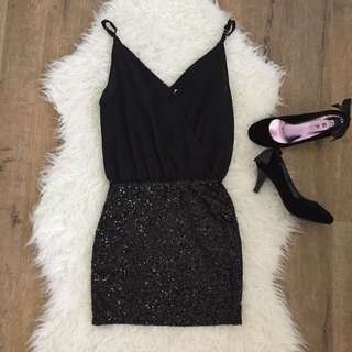 Angel Baby Black Sequin Party Dress Size 6