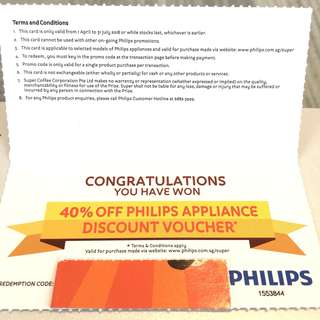 40% Off!! PHILPS Electronic Appliance Discount Voucher!! LCD television 📺