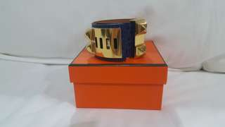 Super Rare BN Hermes CDC Croc Blue Electric Bracelet