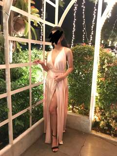 Blush Pink Long Dress FOR RENT