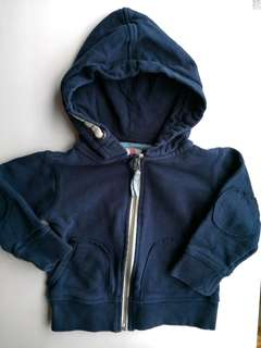 PRELOVED COTTON ON KIDS Boys Navy Blue Zipped Hooded Jacket - in excellent condition
