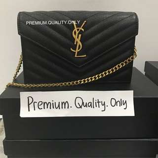 YSL Saint Laurent Leather Wallet On Chain