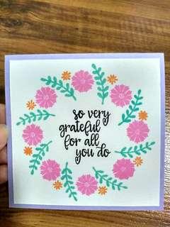 Handmade card (gratitude, thank you, grateful) - flower wreath
