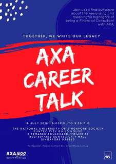 Financial Planner (Attend AXA Career Talk and Get FREE Dinner, Door Gift and Lucky Draw) Bonus: RSVP by 10 July to get free $10 Starbucks card (T&Cs applies)