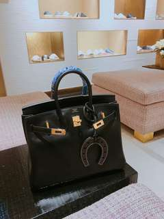 Hermes Birkin B25 Noir Swift
