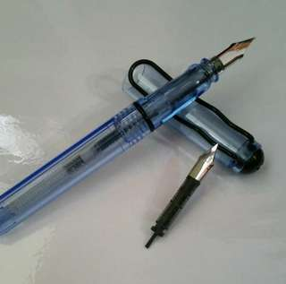 Blue transparent fountain pen