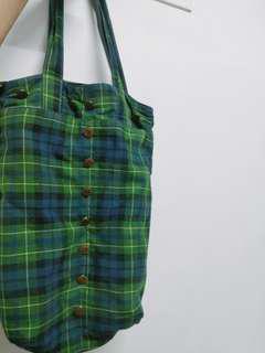 🚚 日系綠格子綿 側提袋  側背包 手提袋 手提包
